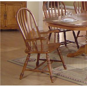 eci furniture solid oak dining arrowback arm chair