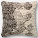 """ED Ellen DeGeneres Crafted by Loloi Woven  Pillows 22"""" X 22"""" Cover w/Down Pillow - Item Number: DSETP4002GYIVPIL3"""