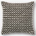"ED Ellen DeGeneres Crafted by Loloi Woven  Pillows 22"" X 22"" Cover w/Down Pillow - Item Number: DSETP4012BRWHPIL3"