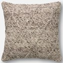 "ED Ellen DeGeneres Crafted by Loloi Woven  Pillows 22"" X 22"" Cover w/Down Pillow - Item Number: DSETP4013GY00PIL3"