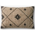 """ED Ellen DeGeneres Crafted by Loloi Woven  Pillows 13"""" X 21"""" Cover w/Down Pillow  - Item Number: DSETP4016BEBLPIL5"""