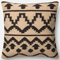 "ED Ellen DeGeneres Crafted by Loloi Woven  Pillows 18"" X 18"" Cover w/Down  Pillow - Item Number: DSETP4018IVBLPIL1"