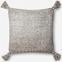 "ED Ellen DeGeneres Crafted by Loloi Woven  Pillows 22"" X 22"" Pillow Cover w/Down  - Item Number: DSETP4065IVGYPIL3"