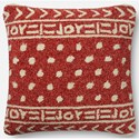 """ED Ellen DeGeneres Crafted by Loloi Woven  Pillows 22"""" X 22"""" Pillow Cover w/Down  - Item Number: DSETP4076REIVPIL3"""