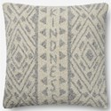 "ED Ellen DeGeneres Crafted by Loloi Woven  Pillows 22"" X 22"" Pillow Cover w/Down  - Item Number: DSETP4077GYIVPIL3"