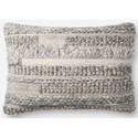 "ED Ellen DeGeneres Crafted by Loloi Woven  Pillows 16"" X 26"" Pillow Cover w/Down  - Item Number: DSETP4083GY00PI15"