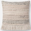 "ED Ellen DeGeneres Crafted by Loloi Woven  Pillows 18"" X 18"" PillowCover w/Down  - Item Number: DSETP4084GYNAPIL1"