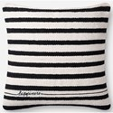 "ED Ellen DeGeneres Crafted by Loloi Woven  Pillows 22"" X 22"" Pillow Cover w/Down  - Item Number: DSETP4091BLWHPIL3"