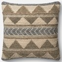 """ED Ellen DeGeneres Crafted by Loloi Woven  Pillows 22"""" X 22"""" Cover w/Poly Pillow - Item Number: PSETP4006GYIVPIL3"""