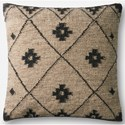 "ED Ellen DeGeneres Crafted by Loloi Woven  Pillows 22"" X 22"" Cover w/Poly Pillow  - Item Number: PSETP4016BEBLPIL3"