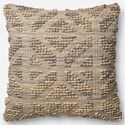 """ED Ellen DeGeneres Crafted by Loloi Woven  Pillows 22"""" X 22"""" Cover w/Poly Pillow - Item Number: PSETP4025GYMLPIL3"""