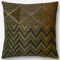 "ED Ellen DeGeneres Crafted by Loloi Woven  Pillows 22"" X 22"" Cover w/Poly  Pillow - Item Number: PSETP4032GRMLPIL3"