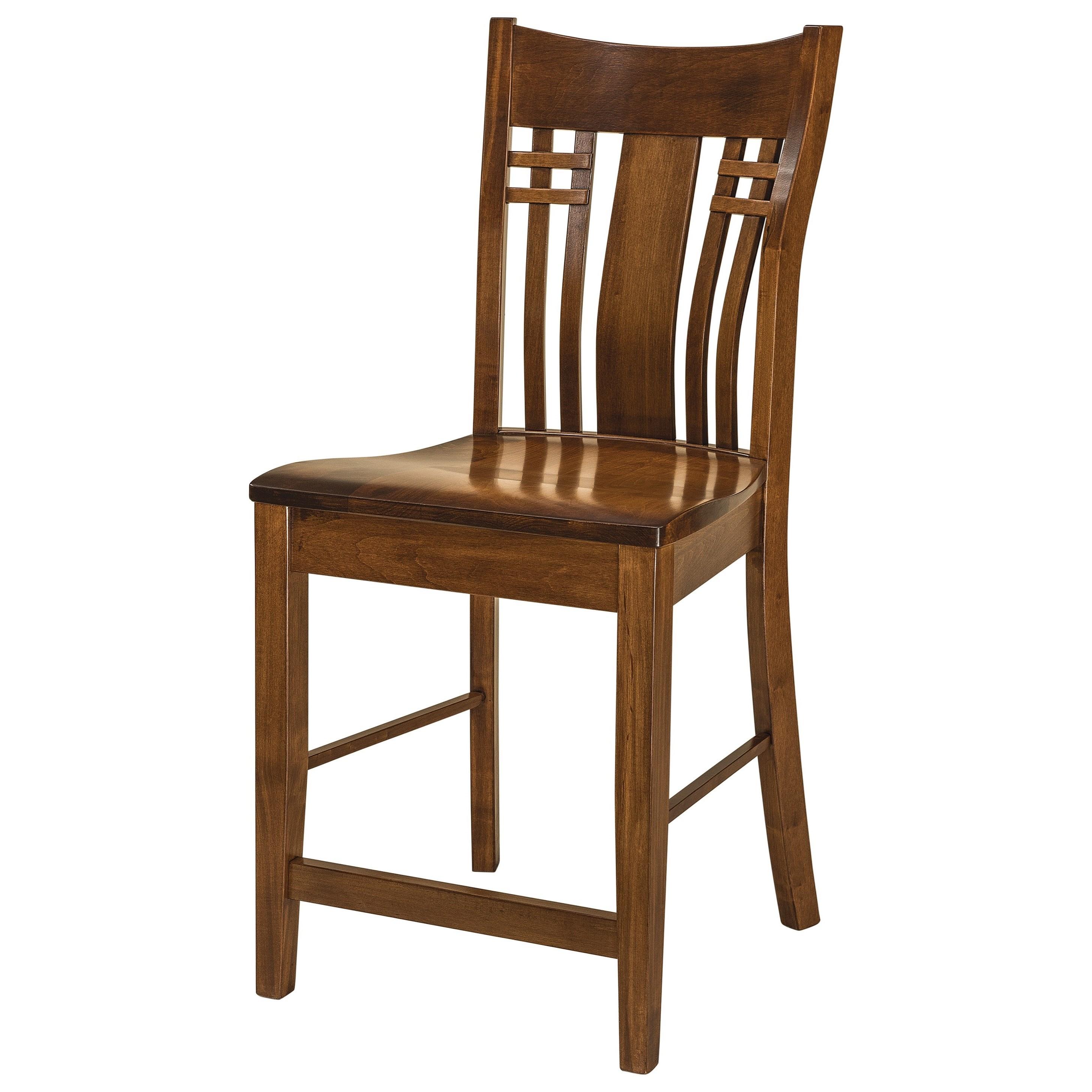Stationary Bar Stool - Wood Seat