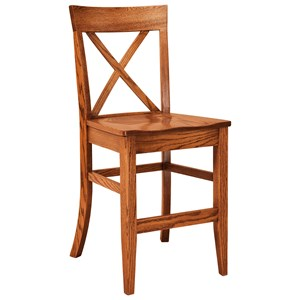 F N Woodworking Frontier Stationary Bar Stool Wood Seat