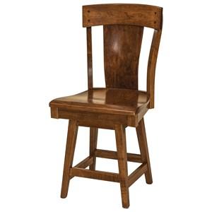 F N Woodworking Lacombe Swivel Bar Height Stool Fabric Seat