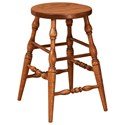 "F&N Woodworking Scoop 24"" Height Stationary Bar Stool - Leather Se - Item Number: 15630"