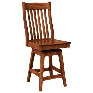 F N Woodworking Sullivan Swivel Counter Height Stool Wood Seat