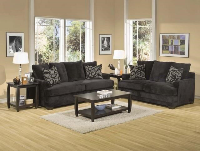 Black Upholstered Sofa with Accent Pillows