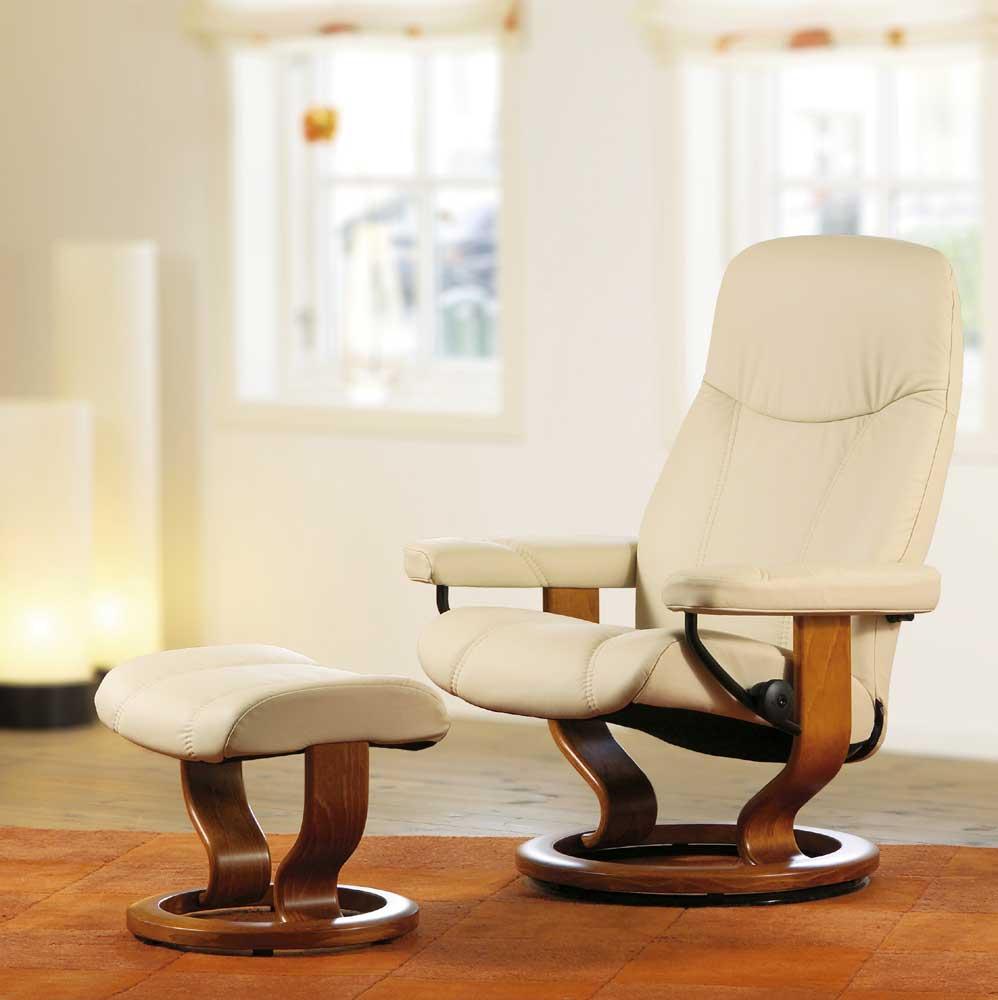 Stressless By Ekornes Stressless Recliners 1005015 Consul Medium Reclining Chair And Ottoman