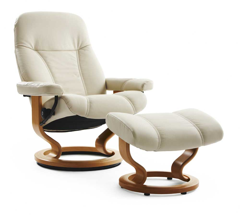 Stressless By Ekornes Stressless Recliners Consul Medium Reclining Chair And Ottoman Conlin 39 S