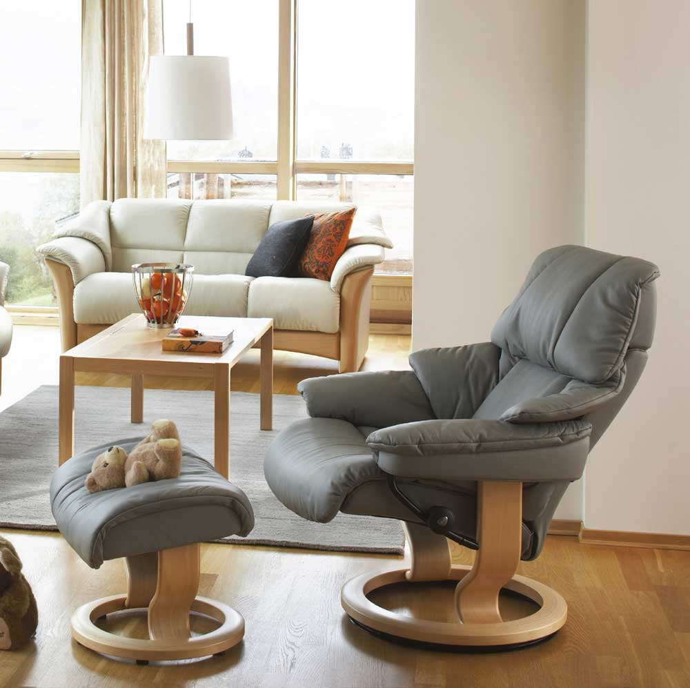 Stressless By Ekornes Stressless Recliners Reno Large Reclining Chair And Ottoman Fashion