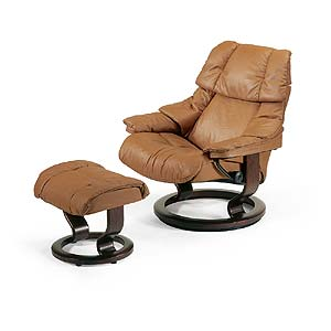 Stressless by Ekornes Stressless Recliners Reno Large Recliner and Ottoman