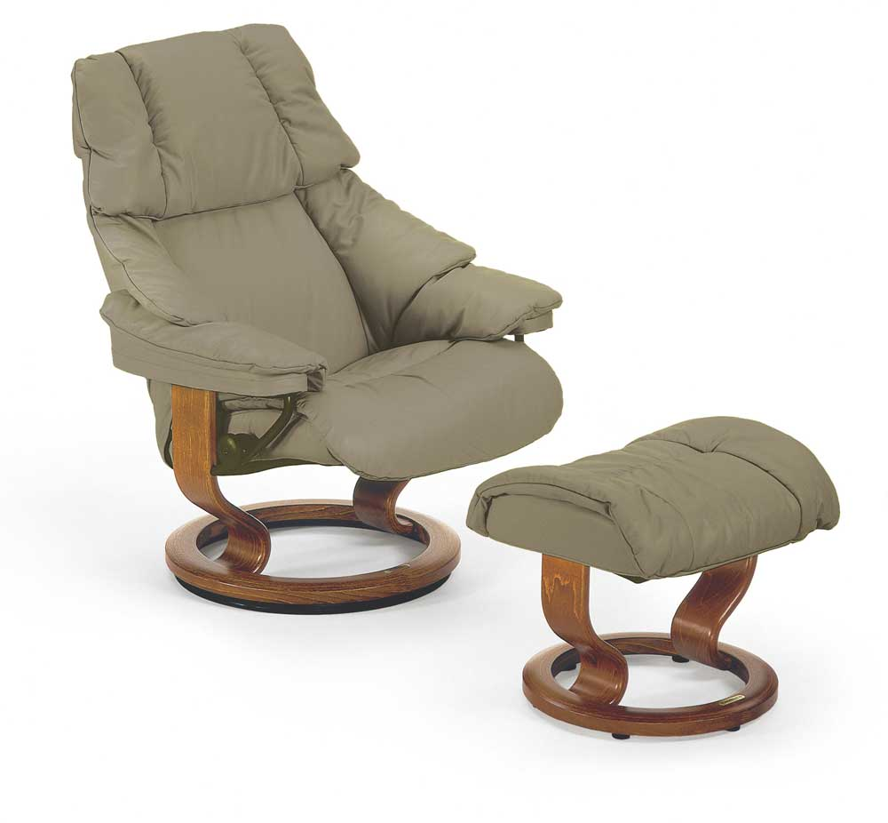 Stressless By Ekornes Stressless Recliners Reno Medium Reclining Chair And Ottoman Dunk