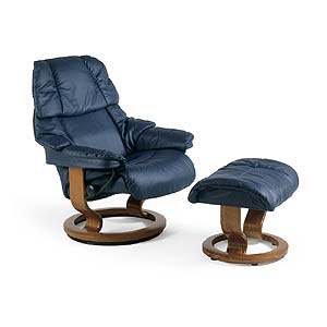 Stressless by Ekornes Stressless Recliners Reno Small Recliner and Ottoman