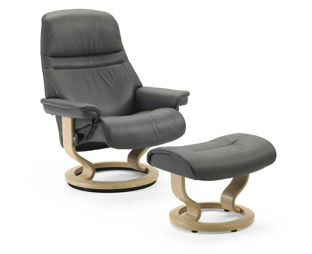 Stressless By Ekornes Stressless Recliners 1237015 Medium Sunrise Reclining Chair And Ottoman
