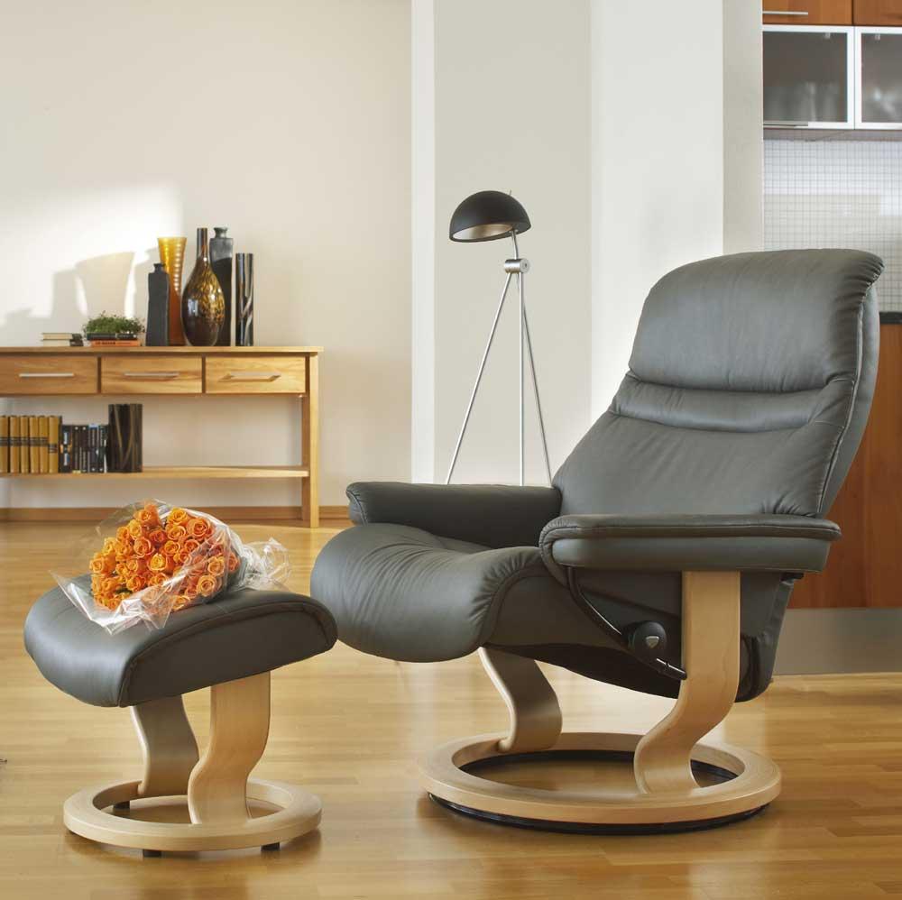 Stressless By Ekornes Stressless Recliners 1237015 Medium Sunrise Reclining Chair And Ottoman