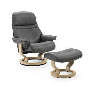 Stressless by Ekornes Stressless Recliners Sunrise Small Recliner and Ottoman