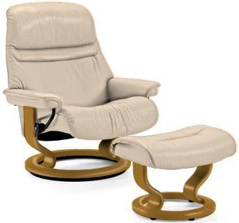 Stressless by Ekornes Sunrise Small Stressless Chair & Ottoman - Item Number: Sunrise