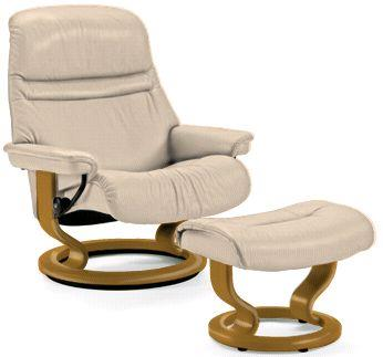Stressless by Ekornes Sunrise Medium Stressless Chair & Ottoman - Item Number: Sunrise