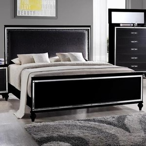 Elements International  Miami Queen Upholstered Bed
