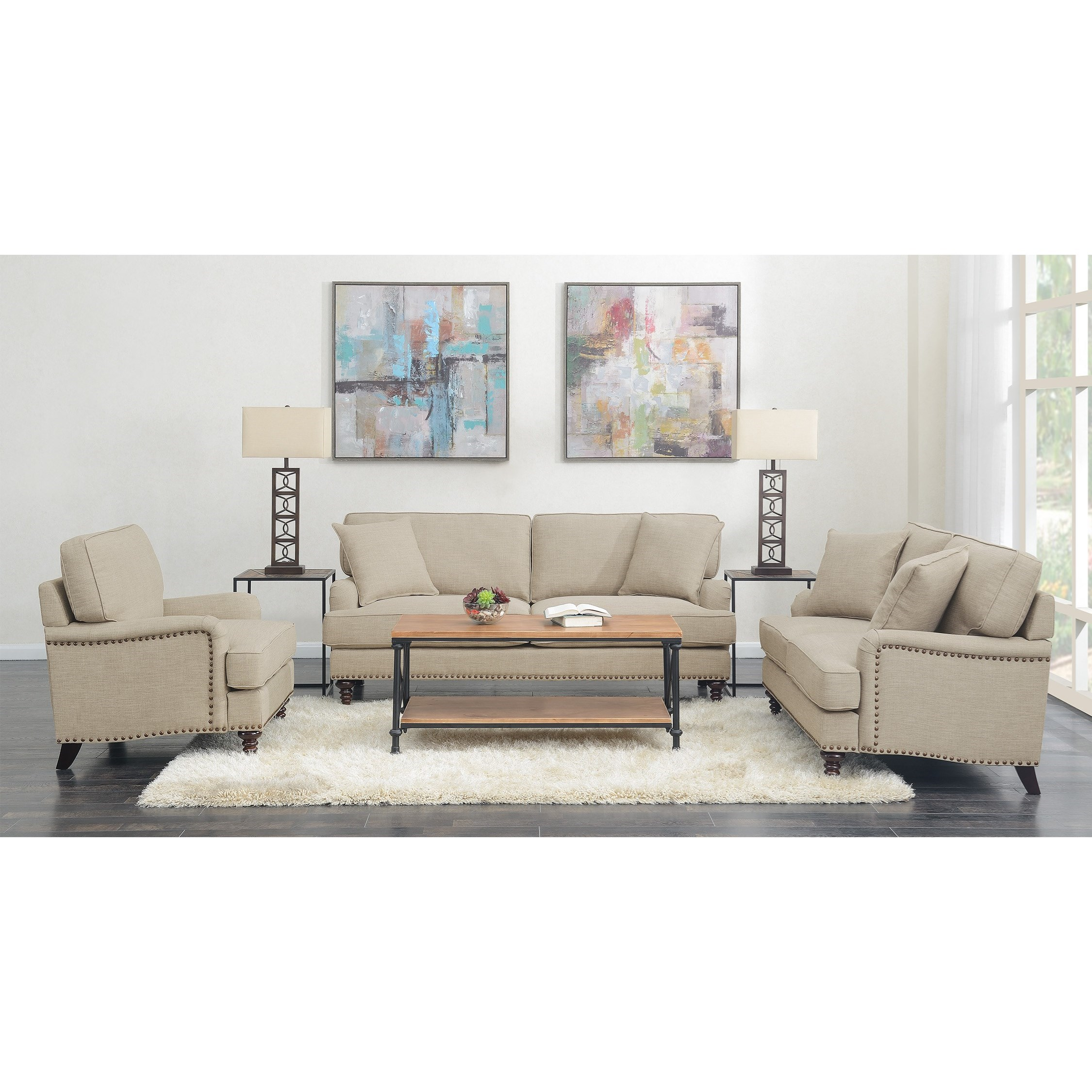 Abby 3PC Set-Sofa, Loveseat & Chair by Elements International at Goffena Furniture & Mattress Center