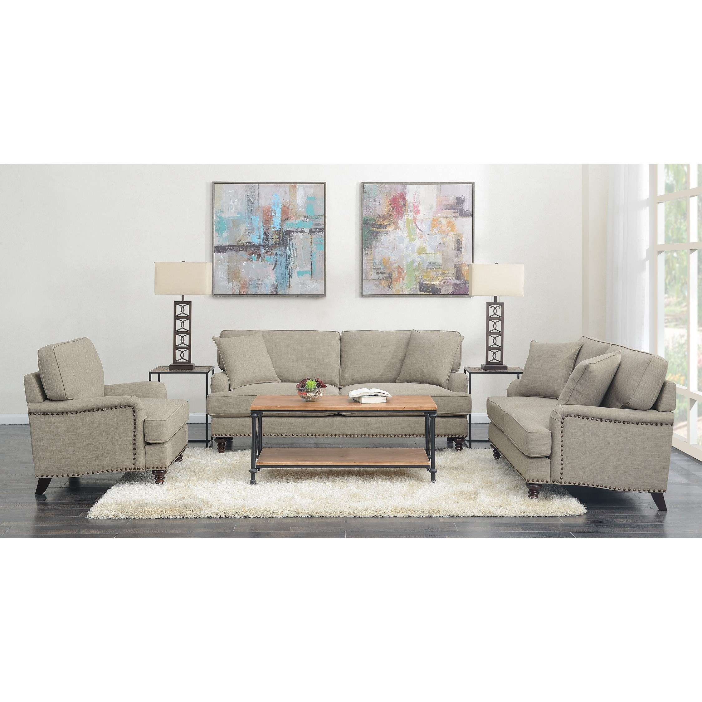 Abby 3PC Set-Sofa, Loveseat & Chair by Elements International at Goffena Furniture & Mattress Center