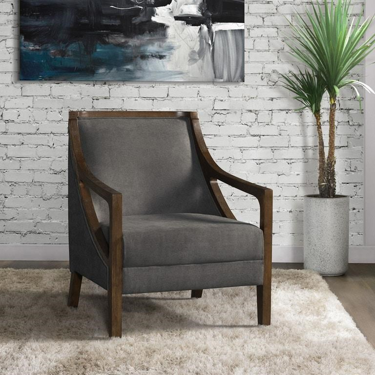 Hopkins Charcoal Accent Chair with Dark Wood
