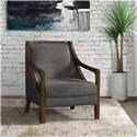 Elements International Accent Chairs Hopkins Charcoal Accent Chair with Dark Wood - Item Number: UHK526101