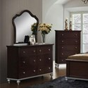 Elements International Allison Dresser and Mirror Set - Item Number: AL300DR+AL300MR