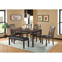 Elements International Bannister Table Set with Bench - Item Number: DBN1006DSB