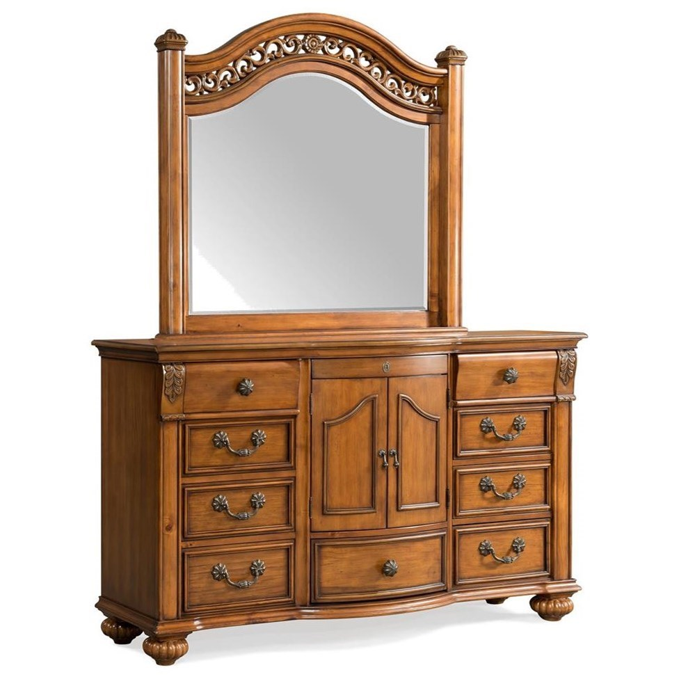 Elements International Barkley Square Dresser and Mirror Set - Item Number: BQ600DR+MR