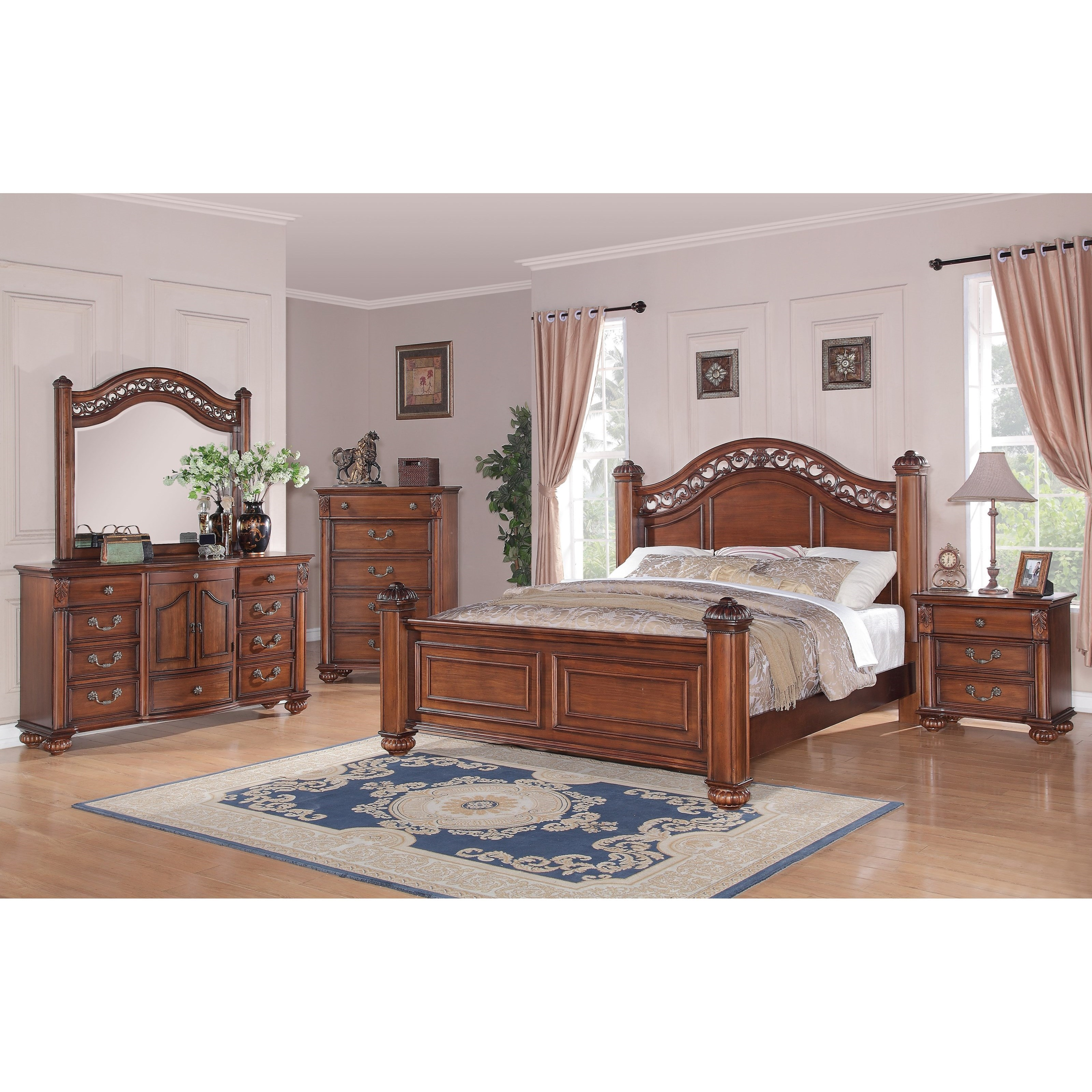 Elements International Barkley Square Traditional Queen Poster 5 Piece Bedroom Set Lindy S Furniture Company Bedroom Groups