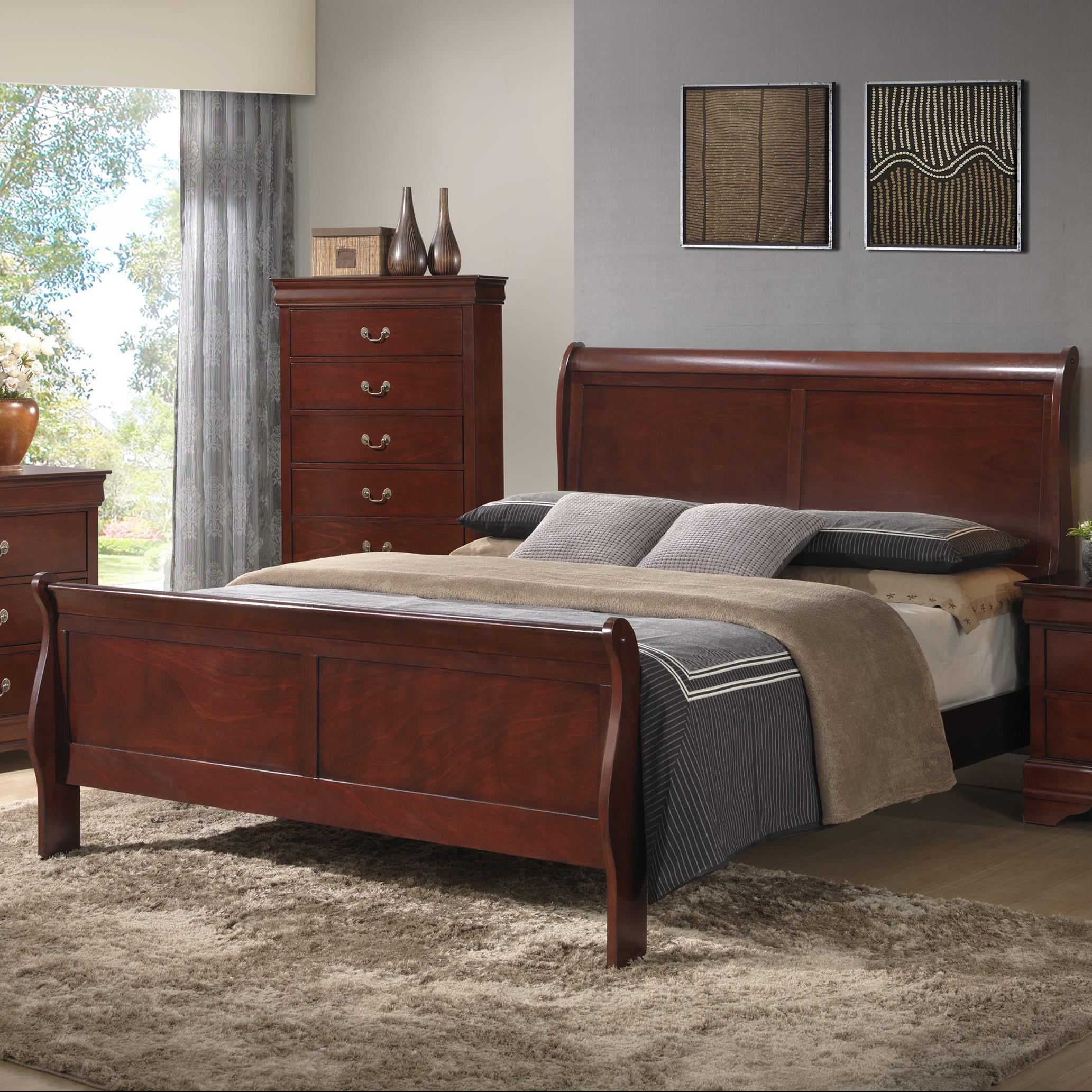 Elements International Belleview King Sleigh Bed - Item Number: BL100KB