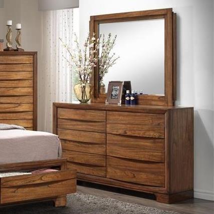 Brandy Dresser And Mirror Set With Hidden Pulls Ruby Gordon Furniture Mattresses Dresser