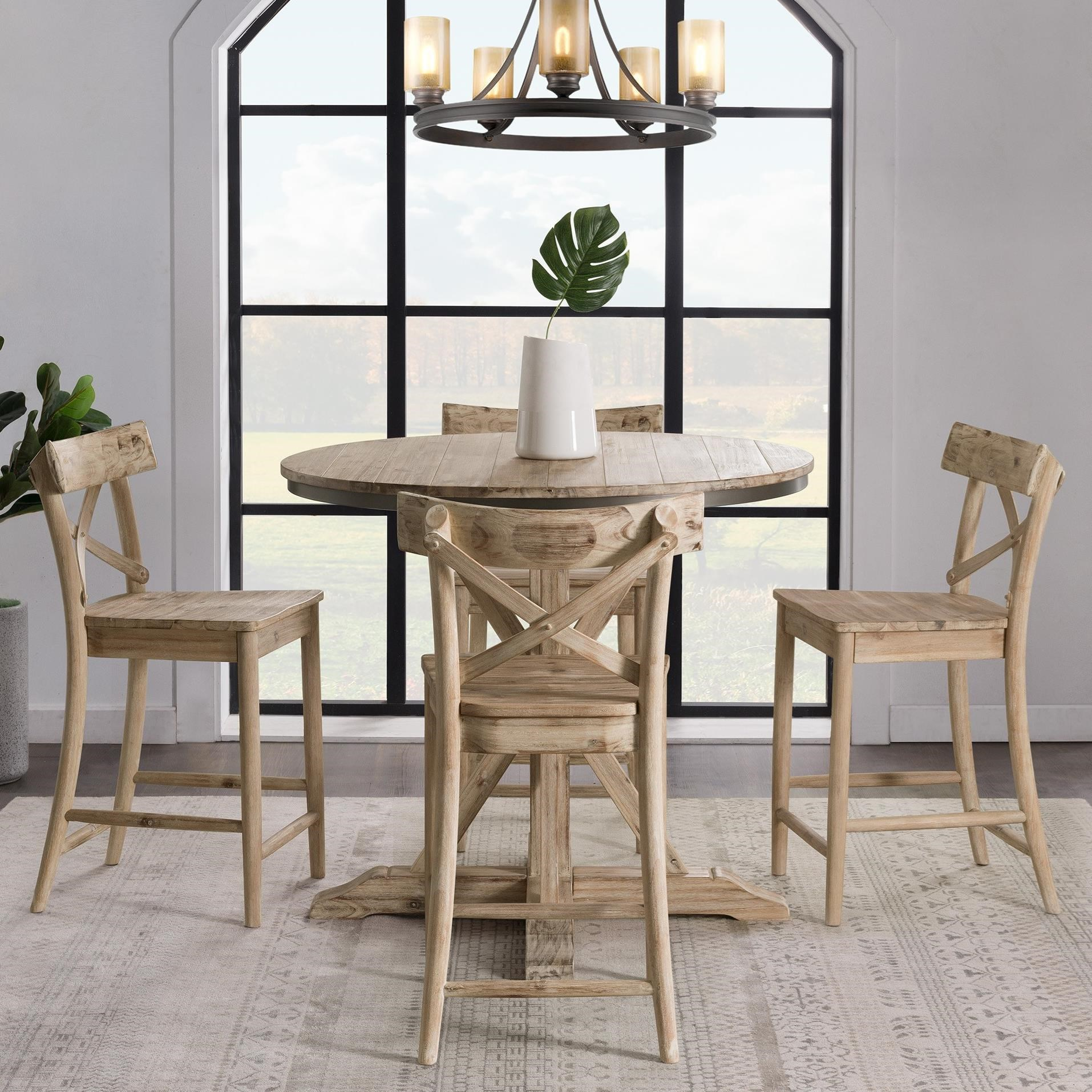 Round Counter Height 5-Piece Dining Set