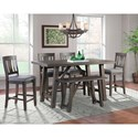 Elements Cash 6-Piece Counter Height Dining Set with Bench - Item Number: DCS100C6PC