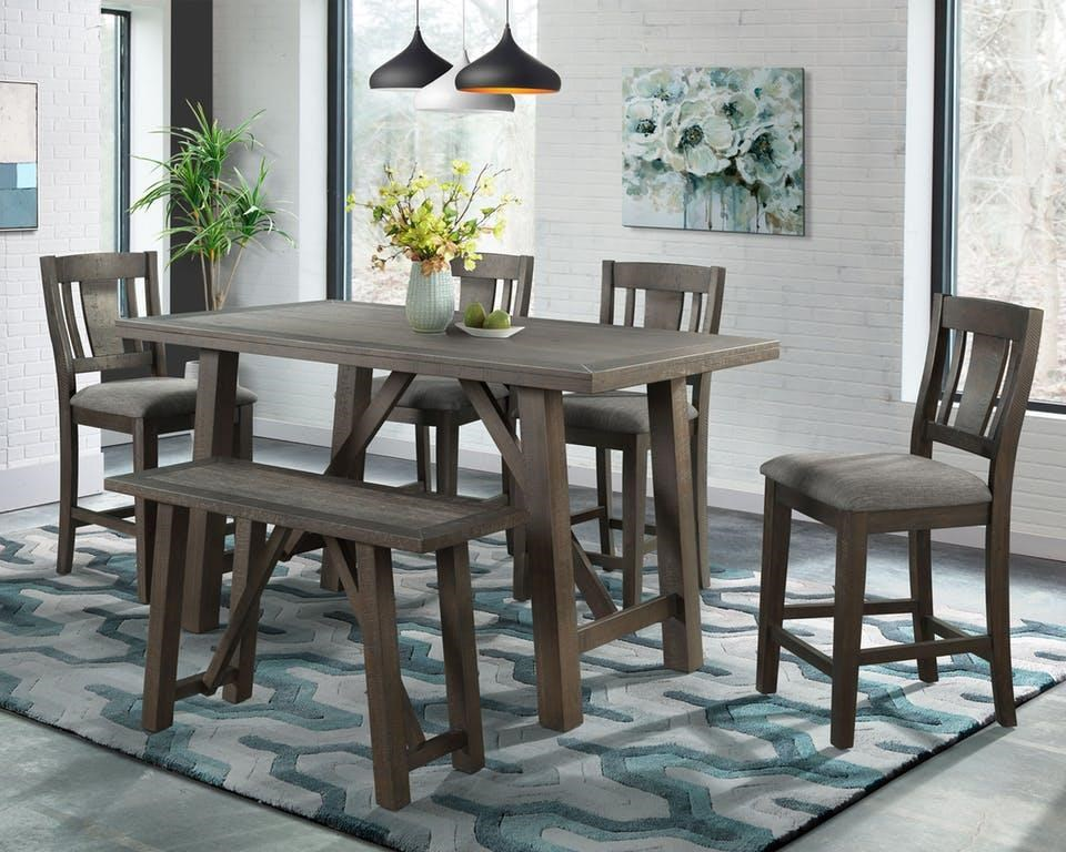 Counter Height Table, 4 Chairs & Bench
