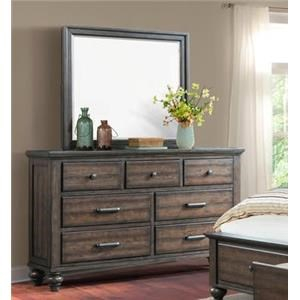 Elements International Chatham Gray Dresser & Mirror