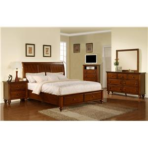 Elements International Cambridge 5 Piece Queen Bedroom Group