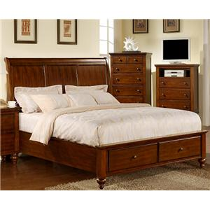 Elements International Cambridge King Sleigh Bed